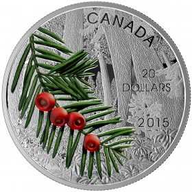 2015 Canada Fine Silver $20 Coin - Forests of Canada: Columbian Yew Tree