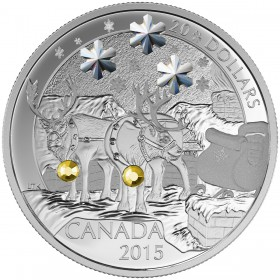 2015 Canadian $20 Holiday Reindeer - 1 oz Fine Silver Coin