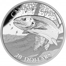 2015 Canadian $20 North American Sportfish: Rainbow Trout 1 oz Fine Silver Coin