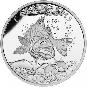 2015 Canadian $20 North American Sportfish: Walleye 1 oz Fine Silver Coin
