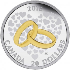 2015 Canadian $20 Wedding 1 oz Gold-plated Fine Silver Coin
