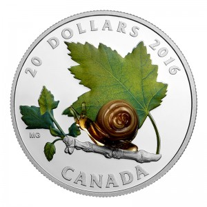 2016 Canadian $20 Little Creatures: Snail (Venetian Glass) 1 oz Fine Silver Coin