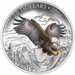 2016 Canadian $20 Majestic Animals: The Baronial Bald Eagle - 1 oz Fine Silver Coin