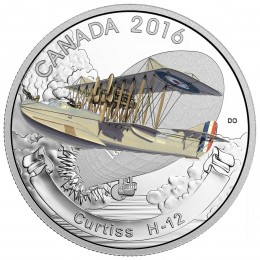 2016 Canadian $20 Aircraft of the First World War Series: Curtiss H-12 - 1 oz Fine Silver Coin