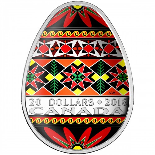 2016 Canadian $20 Traditional Ukrainian Pysanka 1 oz Fine Silver Coin (Coloured Easter Egg)