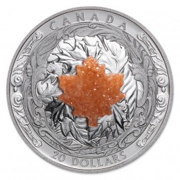 2016 Canada Fine Silver $20 Coin - Majestic Maple Leaves with Drusy Stone