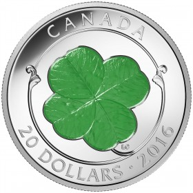 2016 Canadian $20 Lucky Four-Leaf Clover 1 oz Fine Silver with Green Enamel Coin