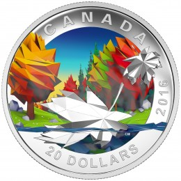 2016 Canada Fine Silver $20 Coin - Geometry in Art: Maple Leaf
