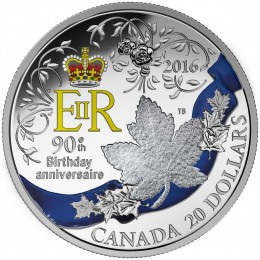 2016 Canadian $20 A Celebration of Her Majesty's 90th Birthday - 1 oz Fine Silver Coin