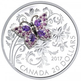 2017 Canadian $20 Bejewelled Bugs: Butterfly 1 oz Fine Silver Coin