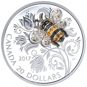 2017 Canadian $20 Bejewelled Bugs: Bee 1 oz Fine Silver Coin
