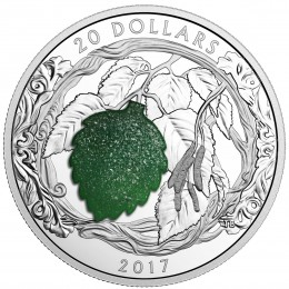2017 Canada Fine Silver $20 Coin - Brilliant Birch Leaves with Drusy Stone