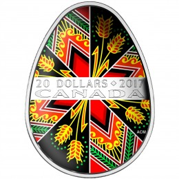 2017 Canadian $20 Traditional Ukrainian Pysanka 1 oz Fine Silver Coin (Coloured Easter Egg)