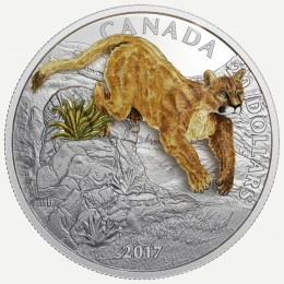 2017 Canada Fine Silver $20 Coin - Three-Dimensional Leaping Cougar