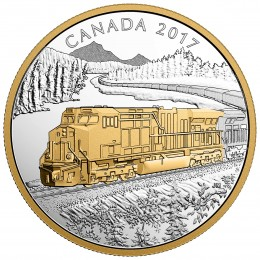 2017 Canadian $20 Locomotives Across Canada: GE ES44AC - 1 oz Fine Silver & Gold-plated Coin