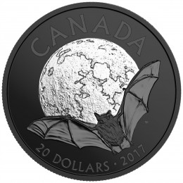 2017 Canada Fine Silver $20 Coin - Nocturnal by Nature: The Little Brown Bat