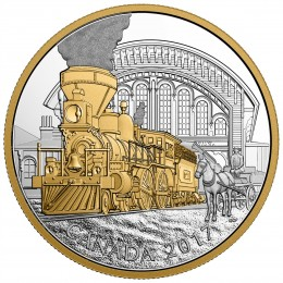 2017 Canadian $20 Locomotives Across Canada: 4-4-0 - 1 oz Fine Silver & Gold-plated Coin