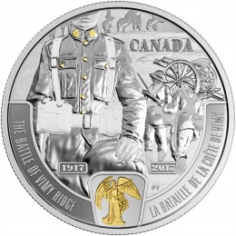 2017 Canadian $20 First World War Battlefront Series: The Battle of Vimy Ridge - 1 oz Fine Silver & Gold-plated Coin