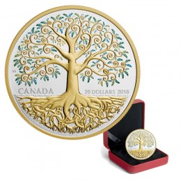 2018 Canadian $20 Tree of Life 1 oz Fine Silver & Gold-plated Coin