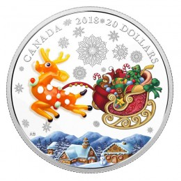 2018 Canadian $20 Murano Holiday Reindeer (Venetian Glass) - 1 oz Fine Silver Coin