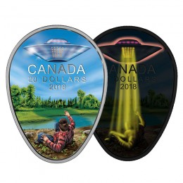 2018 Canadian $20 The Falcon Lake UFO Incident 1 oz Fine Silver Coin  (Glow-In-The-Dark)