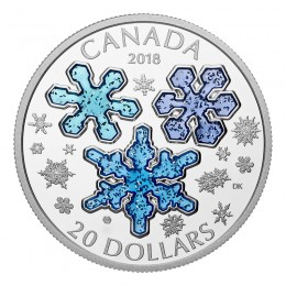 2018 Canadian $20 Ice Crystals/Snowflakes 1 oz Fine Silver & Blue Enamel Coin