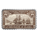 2018 Canadian $20 Canada's Historical Stamps: Arrival of Cartier, Quebec 1535 1 oz Fine Silver Coin