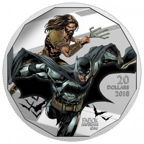 2018 Canadian $20 The Justice League: Batman and Aquaman - 1 oz Fine Silver Coin