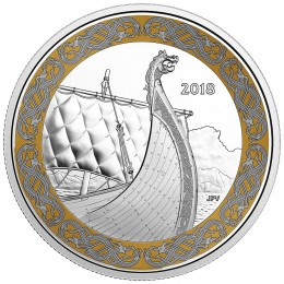 2018 Canadian $20 Norse Figureheads: The Dragon's Sail - 1 oz Fine Silver Coin