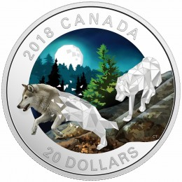 2018 Canadian $20 Geometric Fauna: Grey Wolves - 1 oz Fine Silver Coin