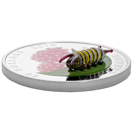 2018 Canada $20 Little Creatures: Monarch Caterpillar (Venetian Glass) 1 oz Fine Silver Coin