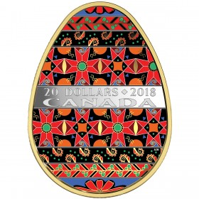 2018 Canadian $20 Golden Spring Pysanka 1 oz Fine Silver & Gold-plated Coin