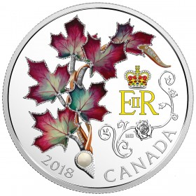 2018 Canadian $20 Her Majesty Queen Elizabeth II's Maple Leaves Brooch - 1 oz Fine Silver Coin