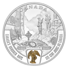 2018 Canadian $20 First World War Battlefront Series: Canada's Hundred Days - 1 oz Fine Silver & Gold-plated Coin