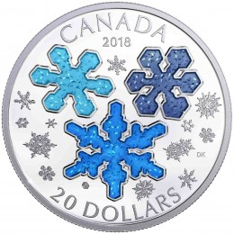 2018 Canadian $20 Ice Crystals - 1 oz Fine Silver Coin