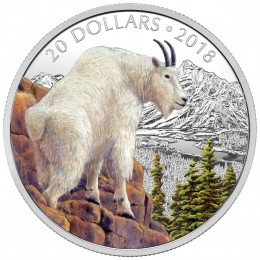 2018 Canadian $20 Majestic Wildlife: Mettlesome Mountain Goat - 1 oz Fine Silver Coin