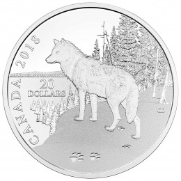 2018 Canadian $20 Nature's Impressions: Wolf - 1 oz Fine Silver Coin