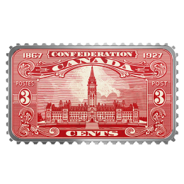 2018 Canadian $20 Canada's Historical Stamps: Parliament Building 1927 Confederation - 1 oz Fine Silver Coin