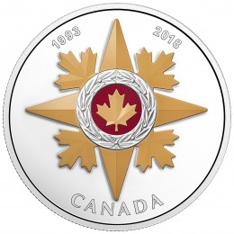 2018 Canadian $20 Canadian Honours: 25th Anniversary of the Star of Military Valour - 1 oz Fine Silver Coin