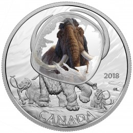 2018 Canadian $20 Frozen in Ice: Woolly Mammoth - 1 oz Fine Silver Coin