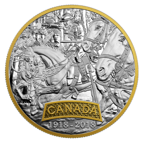 2018 (1918-) Canadian $20 First World War Allies: Canada 1 oz Fine Silver & Gold-plated Coin