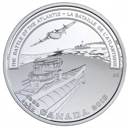 2018 (1945-) Canadian $20 Second World War Battlefront Series: The Battle of the Atlantic - 1 oz Fine Silver Coin