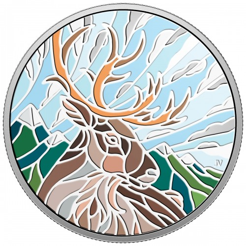 2018 Canadian $20 Canadian Mosaics: Caribou - 1 oz Fine Silver Coin