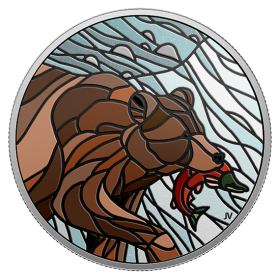 2018 Canadian $20 Canadian Mosaics: Grizzly Bear - 1 oz Fine Silver Coin