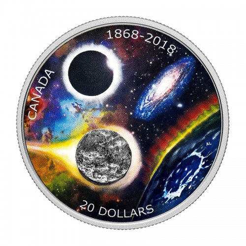 2018 (1868-) Canadian $20 Royal Astronomical Society 150th Anniv Meteorite 1 oz Silver Coin