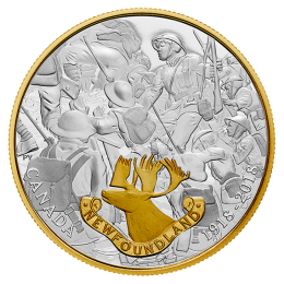 2018 (1918-) Canadian $20 First World War Allies: Newfoundland 1 oz Fine Silver & Gold-Plated Coin