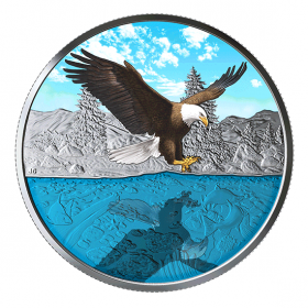 2019 Canadian $20 Bald Eagle Reflection - 1 oz Fine Silver Coloured Coin