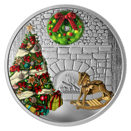 2019 Canadian $20 Murano Glass Holiday Wreath 1 oz Fine Silver Coloured Coin