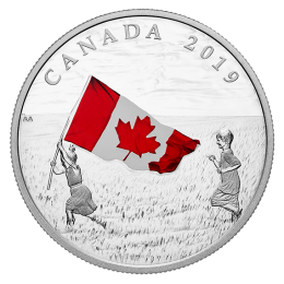2019 Canadian $20 Canada's National Flag - 1 oz Fine Silver Coloured Coin