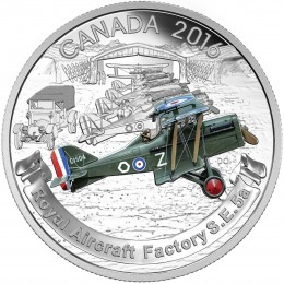 2016 Canadian $20 Aircraft of the First World War Series: The Royal Aircraft Factory S.E.5A - 1 oz Fine Silver Coin